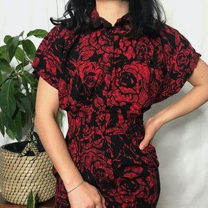 Vintage 1980s cotton fitted modest red dress sm
